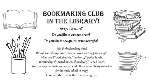 Bookmaking club in the library sign