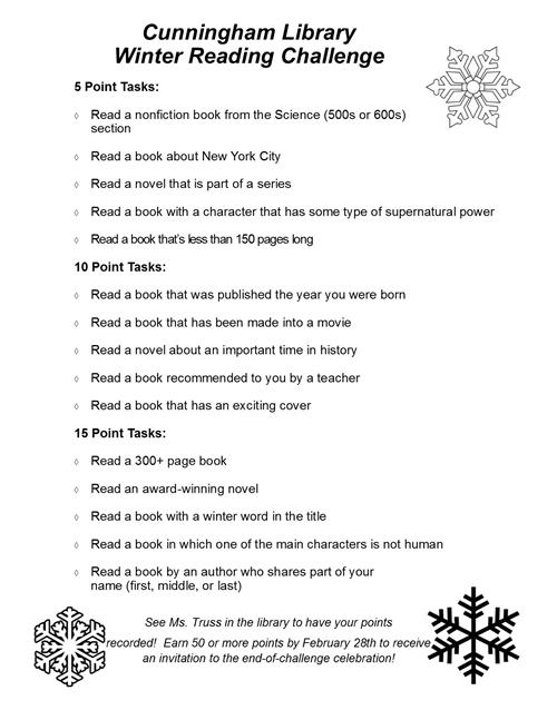 Winter Reading Challenge Flyer