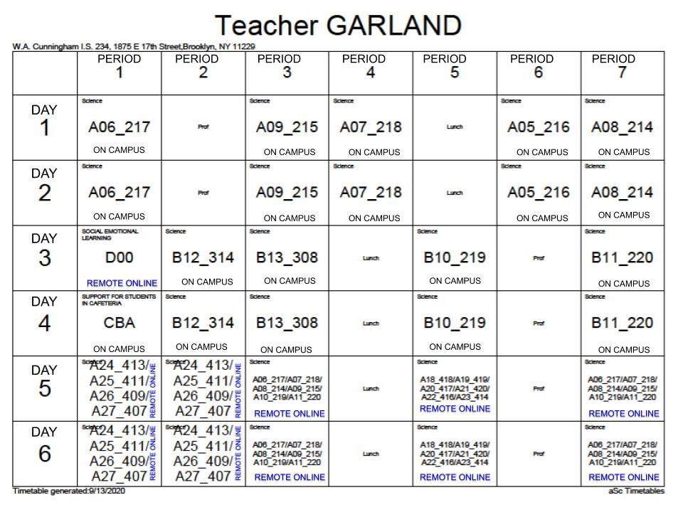 Mr. Garlan'd 2020-2021 schedule